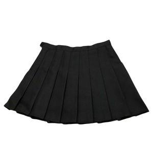 Frauen Sommer einfarbig hoch tailliert plissiert A-Linie Mini-Tennisrock schwarz L.