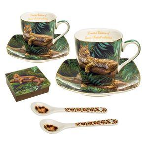 Espresso Porzellan Set für zwei Personen Tassen mit Untertassen und Löffel Leiparden-Muster Geschenkidee