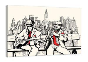 """Leinwandbild - 100x70 cm - """"New Yorker Improvisation""""- Wandbilder - New York Musiker - Arttor - AA100x70-3599"""