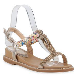 Mytrendshoe Damen Sandaletten Keilsandaletten Strass Ethno Keilabsatz Sandale 830781, Farbe: Gold, Größe: 40