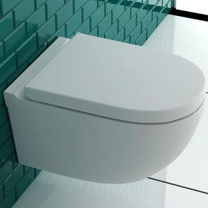 Alpenberger Spülrandloses Wand-WC inkl. Quick-Release WC-Deckel mit Absenkautomatik und Befestigungselemente   passend zu GEBERIT