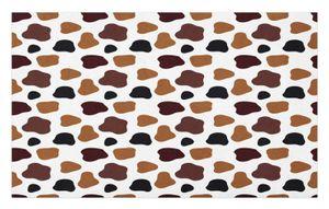 ABAKUHAUS Kuh-Druck Fußmatte Schmutzfangmatte Türmatte, Abstrakte Kuh-Fell, Dekorative Polyester Bodenmatte mit rutschfesten Träger, 45 cm x 76 cm, Weiß Braun Schwarz