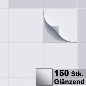 1PLUS Fliesenaufkleber Fliesensticker, 20x20cm, selbstklebend - Fliesen-Folie , Sets:150 Stück, Fliesenaufkleber Farbe:glänzend weiss