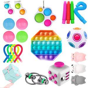23 Stück / Set Push Bubble Fidget Antistress Toys Erwachsene Kinder Pop Fidget Sensory Toy Spinner