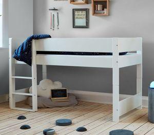 """Halbhohes Bett """"Tacora""""  Hochbett 90x200 cm weiß"""