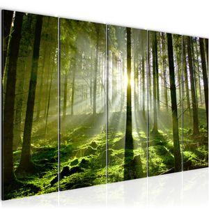 Wald Landschaft BILD 200x80 cm − FOTOGRAFIE AUF VLIES LEINWANDBILD XXL DEKORATION WANDBILDER MODERN KUNSTDRUCK MEHRTEILIG 602955a