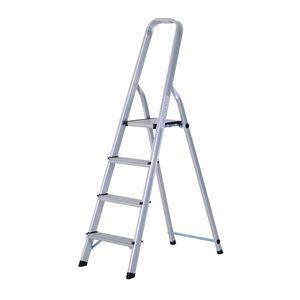 HOMCOM Stehleiter Aluleiter Klapptritt Trittleiter Haushaltsleiter Leiter Stufenleiter 4 – 5 Stufen (4 Stufen)