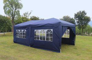 Kronenburg Faltpavillon WASSERDICHT Pavillion Gartenzelt Dachmaß 3x6m UV-Schutz blau mit 6 Seiten