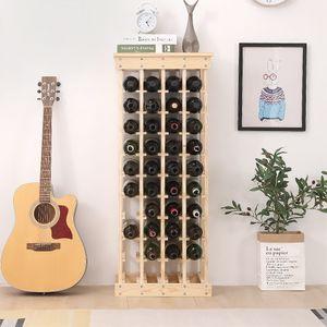 Weinregal  Flaschenregal Weinschrank Natur Weinstaender Holzregal  Flaschenstaender fuer 40 Flaschen  46.5x27.5x113cm