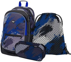 Baagl Schulrucksack Set Jungen 3 Teilig, Schultasche ab 3. Klasse, Grundschule Ranzen mit Brustgurt, Ergonomischer Schulranzen (Paintball)