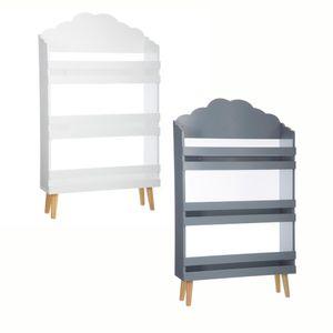 Kinderregal, Aufbewahrungsregal - 3 Ebenen, 58 x 18 x 100 cm, Farbe:Grau