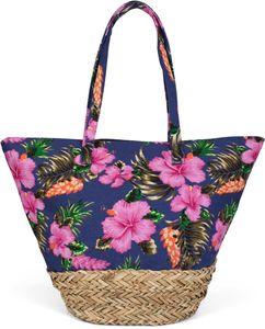 styleBREAKER Strandtasche mit buntem Hibiskus Blüten Print, Bast am Boden und Reißverschluss, Schultertasche, Shopper, Damen 02012233, Farbe:Dunkelblau