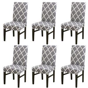 ele ELEOPTION Stuhlhülle, 6er-Pack Esszimmer-Stuhlhülle Stretch-Stuhlhülle Hohe Rückenlehne Stuhlschutzhülle Überzug, Grau