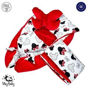 Babynestchen Set Neugeborene - Kuschelnest Baby Nestchen Bett Set 5- Teilig Kokon Baumwolle – Fleecestoff  Rot mit Mausmuster