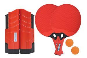 Donic-Schildkröt Tischtennis-Set Outdoor Flex, 2 wasserfeste Kunststoffschläger, 2 Bälle, inkl. ausziehbarer und längenverstellbarer Netzgarnitur, in praktischer wiederverschließbarer Dose