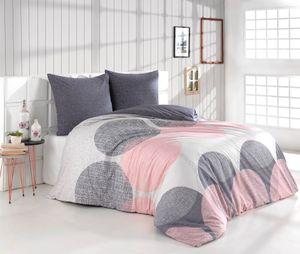Bettwäsche 200x200 + 80x80 cm Baumwolle Renforce Rosa Grau Kreise mit Reißverschluss, 3-teilig