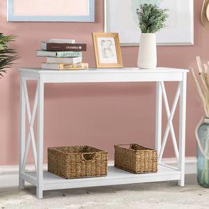 Konsolentisch Beistelltisch mit Ablage Flurtisch Sideboard Lagerregal Multifunktionale Tisch Regal aus Metall mit für Küche Eingang Wohnzimmer Weiß