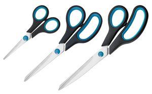 Westcott N-90027 00 Easy Grip Scheren Set, 3 Stück, 13,8cm + 20,1cm + 24,8 cm, schwarz-blau