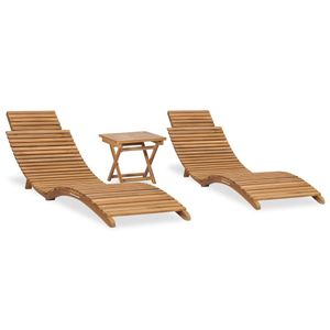 3-tlg. Garten-Lounge-Set Klappbar Massivholz Teak