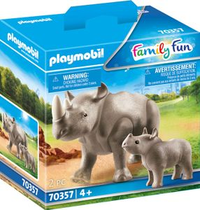 PLAYMOBIL, Nashorn mit Baby, Family Fun, 70357