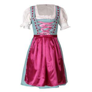 Dirndl 3 tlg.Trachtenkleid Kleid, Bluse, Schürze, Gr. 34-46 türkis pink kariert 42
