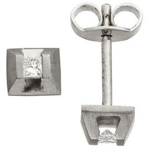 Ohrstecker eckig 950 Platin matt 2 Diamanten Ohrringe Platinohrringe