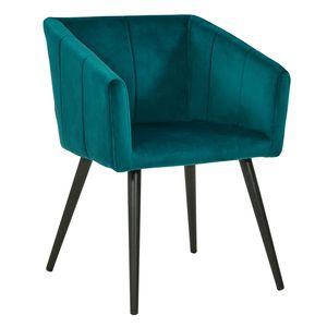 Duhome Esszimmerstuhl Armlehnstuhl Sessel Stoff Samt in Grün-Blau Petrol Retro Design