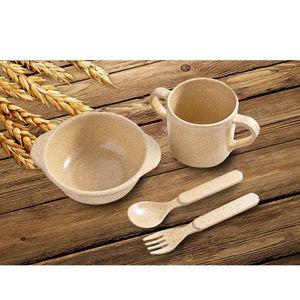 Vier Stück Baby Kinder Tafelgeschirr Essgeschirr Kits Geschirr Set Eingestellt aus Bambus