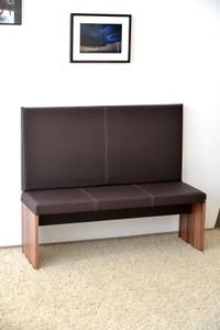 M / big Wand-Kissen Keil-form Keilwandkissen Kunstleder mit Montage-Set 115 x 55 cm - braun