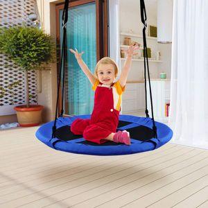 COSTWAY Nestschaukel Schaukel Outdoor Garten-Schaukel Kinderschaukel Garten Kinder Tellerschaukel Rundschaukel φ 100cm, bis 150 kg belastbar Blau