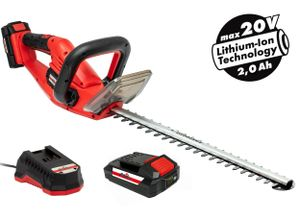 Grizzly Tools Akku-Heckenschere mit 20 V Akku und Schnellladegerät 52 cm Schnittbreite