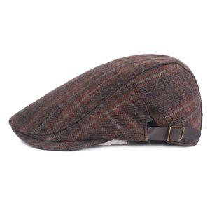 Wolle Baskenmütze Kappen Plaid Herbst Warm Casual Atmungs Baskenmütze