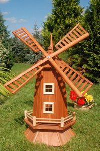 Garten-Windmühle aus Holz – Höhe 1,15 Meter, Solarbeleuchtung:ohne Solarbeleuchtung