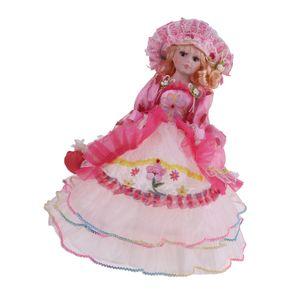 1 Stück Porzellanpuppe , Pinkes Kleid 45 cm