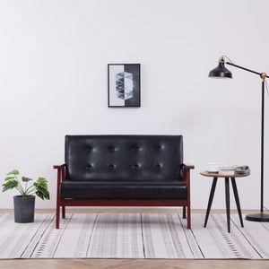 【Neu】Klassische Sofas 2-Sitzer-Sofa Schwarz Kunstleder Gesamtgröße:113,5 x 67 x 73,5 cm BEST SELLER-Möbel-Sofas im Landhaus-Stil