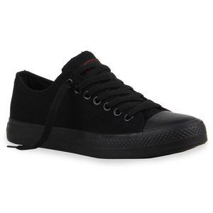 Mytrendshoe Herren Sneakers Sportschuhe Stoffschuhe Schnürer 94238, Farbe: Schwarz Schwarz Lucky, Größe: 44