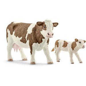Schleich 13801 13802 Farm World 2er Set Fleckvieh-
