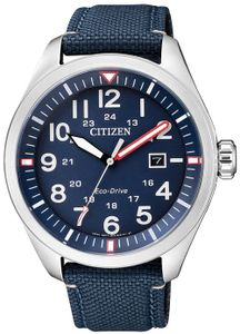 Citizen AW5000-16L Sport Uhr Herrenuhr Lederarmband Datum Blau
