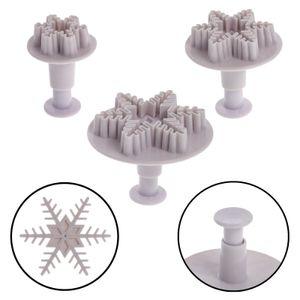 3tlg. Plätzchen Schneeflocke Ausstechform Ausstecher Stempel Set Plätzchenform Ausstechform Keksausstecher Weihnachten Kinder Torte