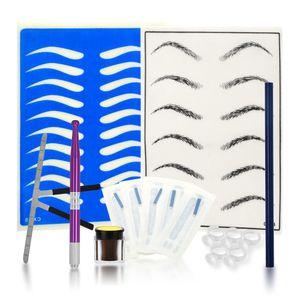 Professionelle Augenbraue permanent Tattoo Praxis Kit Microblading Set manuelle Augenbrauen Stift Nadel Pigment Tinte Üben Haut Werkzeug