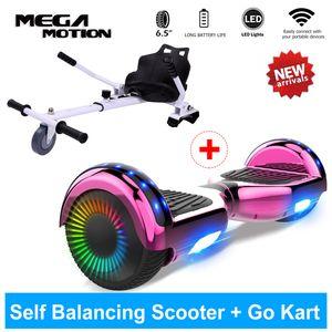 Hoverboard mit Hoverkart Elektro Scooter 6,5 zoll ,Sitzscooter Bluetooth  Geschenk für Kinder Self Elektro Balance Scooter mit Sitz
