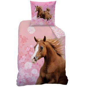 Rosa Mädchen Bettwäsche Set Pferde Decke 135 x 200cm Kissen 80 x 80cm 100% Baumwolle Linon Horse Flower Blumen