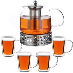 Monzana Teekanne Glas 1,5L 4er Set Teegläser Stövchen Teebereiter Borosilikat