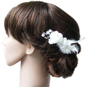 Fascinator Blume Rose Federn weiss Haarblume Haarschmuck Hochzeit Haarnadel H5124