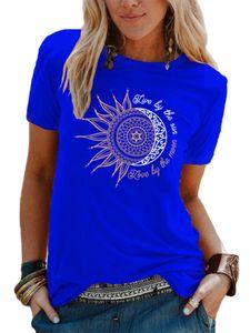 Damen locker und einfach T-Shirt Mode Pullover Sweatshirt,Farbe: Königsblau,Größe:M