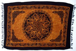 Bali Sarong, Wandbehang, Wickelrock, Sarongkleid - Celtic Rostorange, Unisex, Viskose, 160*100 cm, Sarongs, Strandtücher