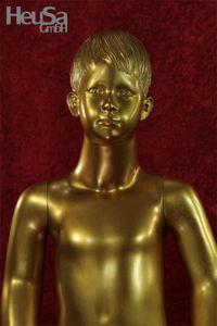 Kinder Schaufensterpuppe gold Schaufensterfigur Mannequin Kind modelliertes Gesicht und Haar