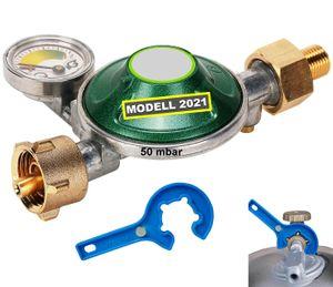 Gasregler Druckminderer 50 mbar mit 360° Manometer Gasregler-Schlüssel für Gasgrill Kocher Ofen