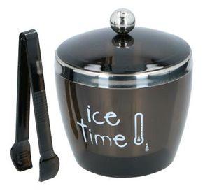 Eiskübel mit Deckel und Zange Edelstahl Eiswürfelbehälter Eiseimer Eiskühler Ice Bucket, Volumen ca. 750 ml, Farbe Schwarz