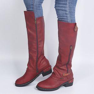 Damen Reißverschluss Vierkantabsatz Vollfarbige Hochstiefel Kniehohe Schuhe Runde Zehenstiefel Größe:40,Farbe:Rot